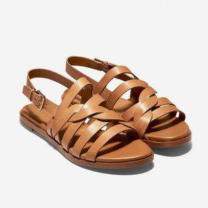 Cole Haan Fiona Grand Flat Pecan Leather Sandal 9